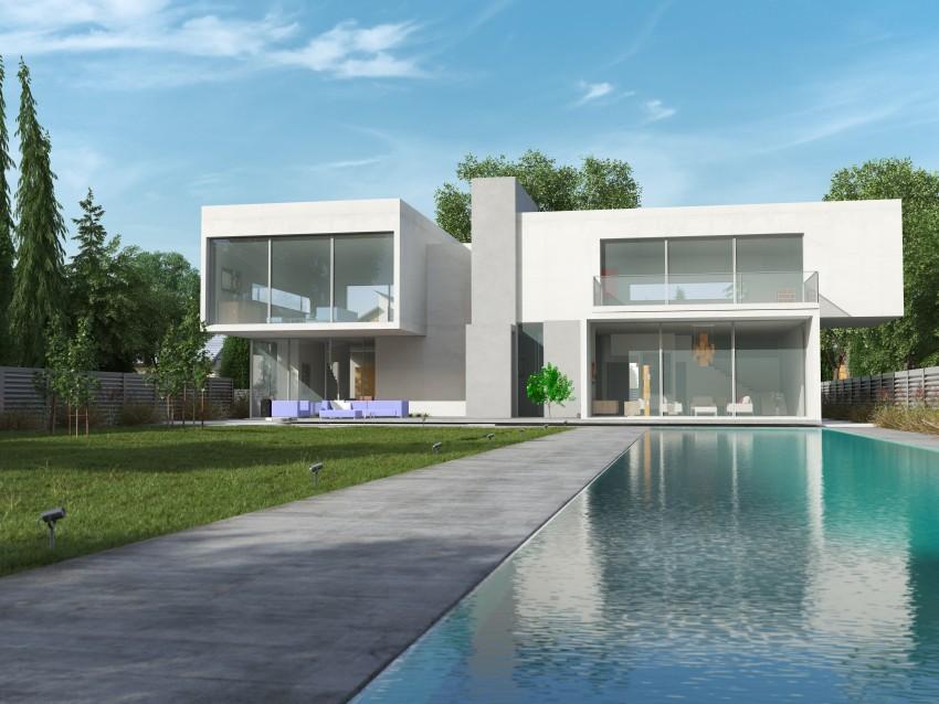 nowoczesny dom z nawierzchnią z betonu przed domem