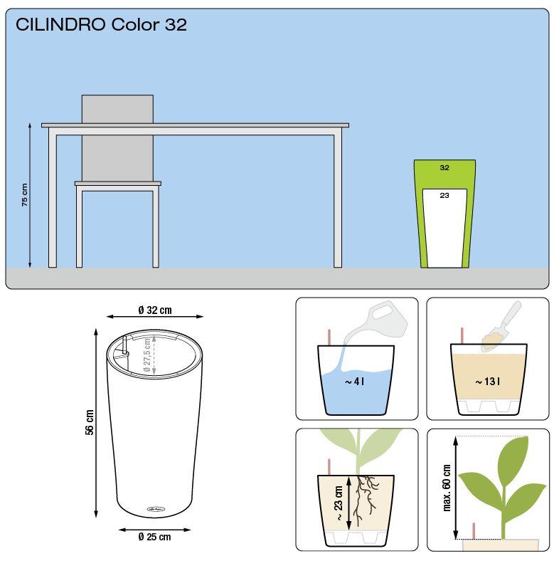 wymiary donicy cilindro 32