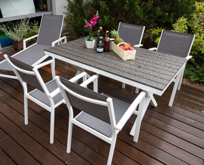 Meble Ogrodowe Plastikowe Praktiker : Stół ogrodowy 46 osobowy TOULOUSE (biały stół z szarym blatem [R