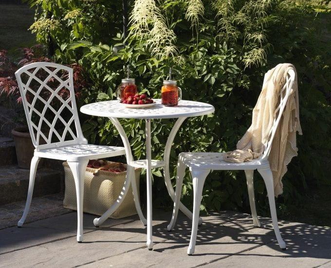 Aluminiowy stolik okrągły bistro Vichy